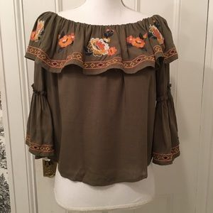 Flying Tomato NWT olive floral embroidered top S